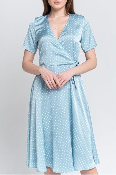 Платье на запах в горошек SVST_AAB-blue, фото 1 - в интеренет магазине KAPSULA