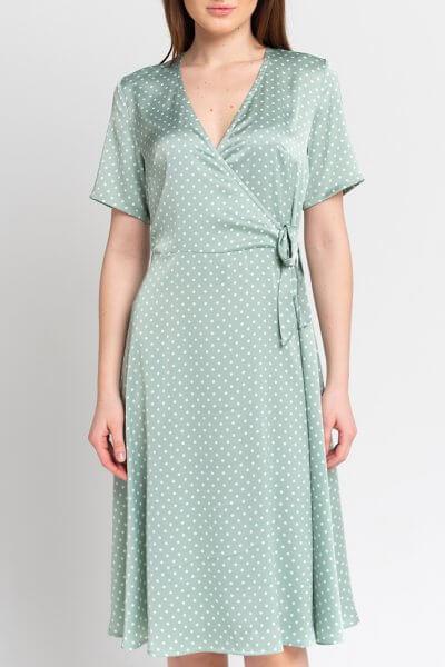 Платье на запах в горошек SVST_AAB-green, фото 1 - в интеренет магазине KAPSULA