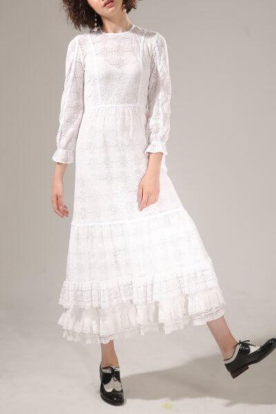 Хлопковое платье с кружева VONA-SS-20-11, фото 1 - в интеренет магазине KAPSULA