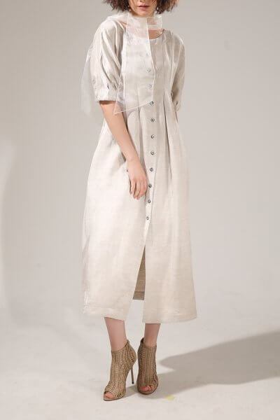 Платье миди на пуговицах VONA-SS-20-18, фото 3 - в интеренет магазине KAPSULA