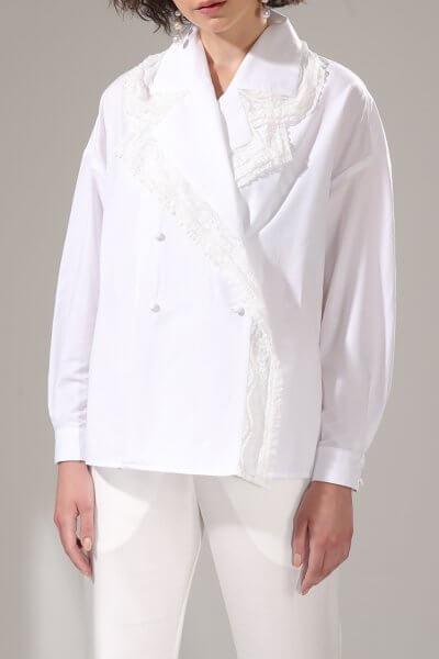 Объемная рубашка с кружевом VONA-SS-20-3, фото 1 - в интеренет магазине KAPSULA