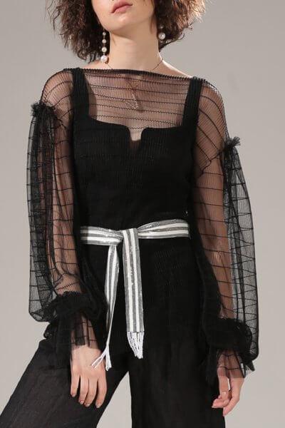 Прозрачная блуза с объемными рукавами VONA-SS-20-35, фото 1 - в интеренет магазине KAPSULA