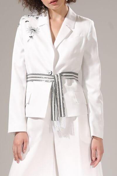 Укороченный жакет с вышивкой на плече VONA-SS-20-6, фото 1 - в интеренет магазине KAPSULA