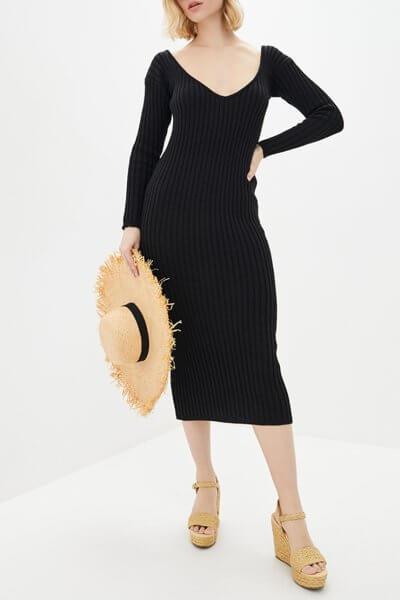 Платье футляр в рубчик из шерсти KNIT_MP002XW0S728, фото 1 - в интеренет магазине KAPSULA