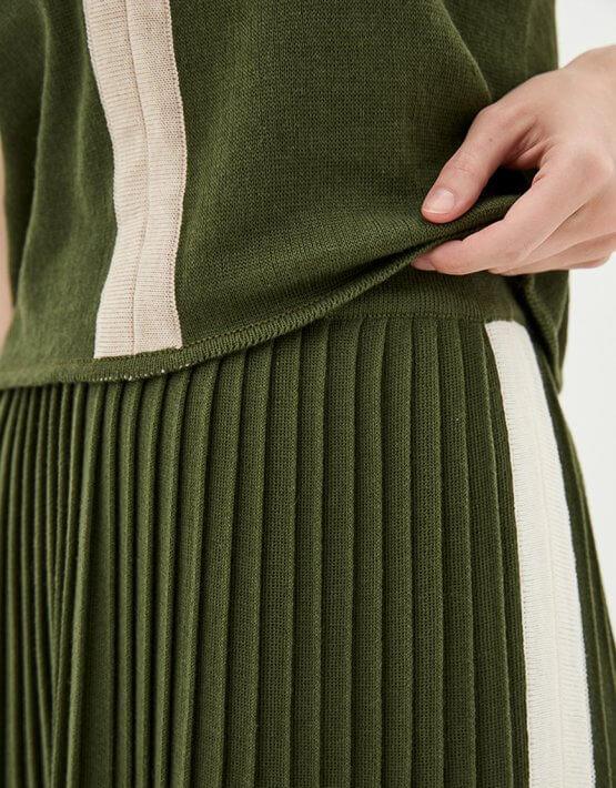 Хлопковый костюм с юбкой плиссе KNIT_MP002XW0S7OY, фото 5 - в интеренет магазине KAPSULA