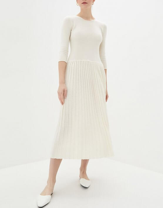 Хлопковое платье плиссе KNIT_MP002XW0S95J, фото 4 - в интеренет магазине KAPSULA