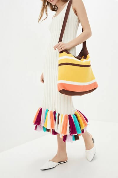 Хлопковое платье с цветными кистями KNIT_MP002XW0S95L, фото 4 - в интеренет магазине KAPSULA