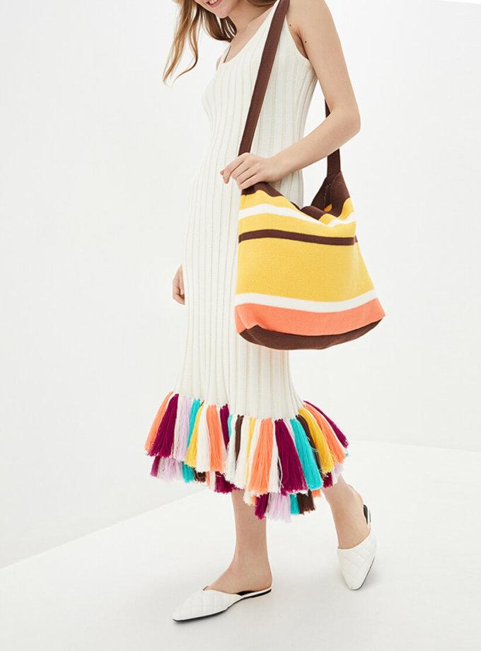 Хлопковое платье с цветными кистями KNIT_MP002XW0S95L, фото 1 - в интернет магазине KAPSULA