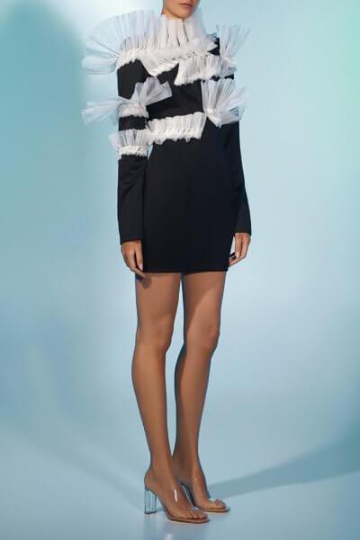 Платье из шерсти с контрастным декором MF-FW2021-15, фото 1 - в интеренет магазине KAPSULA