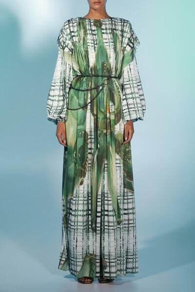 Шелковое платье с авторским принтом MF-FW2021-20, фото 4 - в интеренет магазине KAPSULA