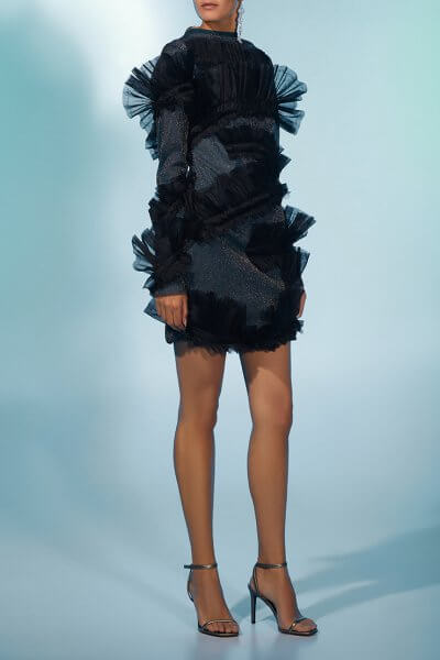 Платье мини в блестки MF-FW2021-25, фото 1 - в интеренет магазине KAPSULA