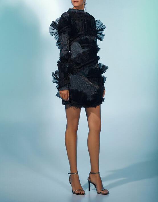 Платье мини в блестки MF-FW2021-25, фото 2 - в интеренет магазине KAPSULA