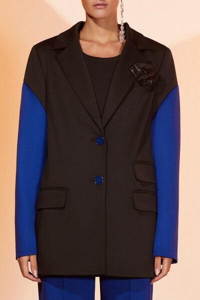 Жакет из шерсти с контрастными рукавами MF-FW2021-26, фото 4 - в интеренет магазине KAPSULA
