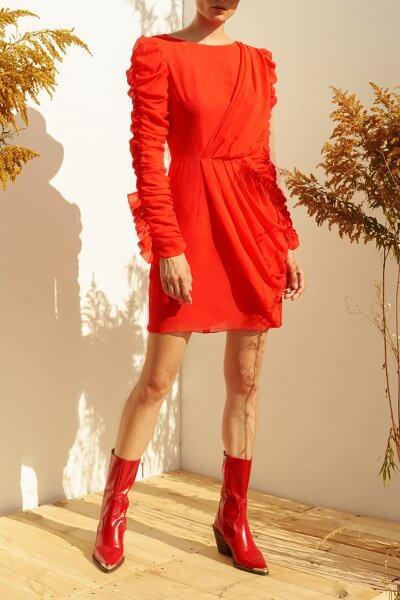 Платье мини из шелка с драпировкой MF-SS20-1, фото 1 - в интеренет магазине KAPSULA