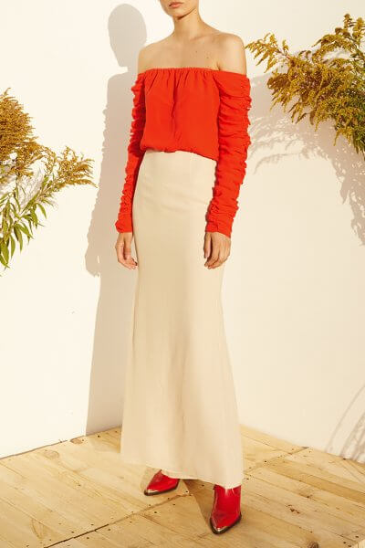 Платье макси с открытыми плечами MF-SS20-25, фото 1 - в интеренет магазине KAPSULA