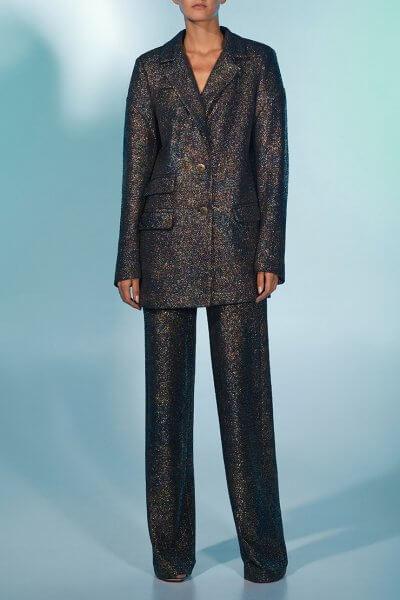 Прямые брюки со складками в блестки MF-FW2021-13, фото 1 - в интеренет магазине KAPSULA