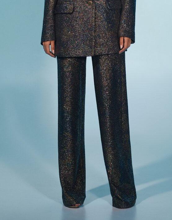 Прямые брюки со складками в блестки MF-FW2021-13, фото 2 - в интеренет магазине KAPSULA