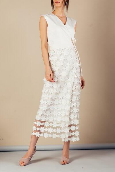 Платье на запах с кружевом MMT_060_White_dress_with_lace, фото 7 - в интеренет магазине KAPSULA