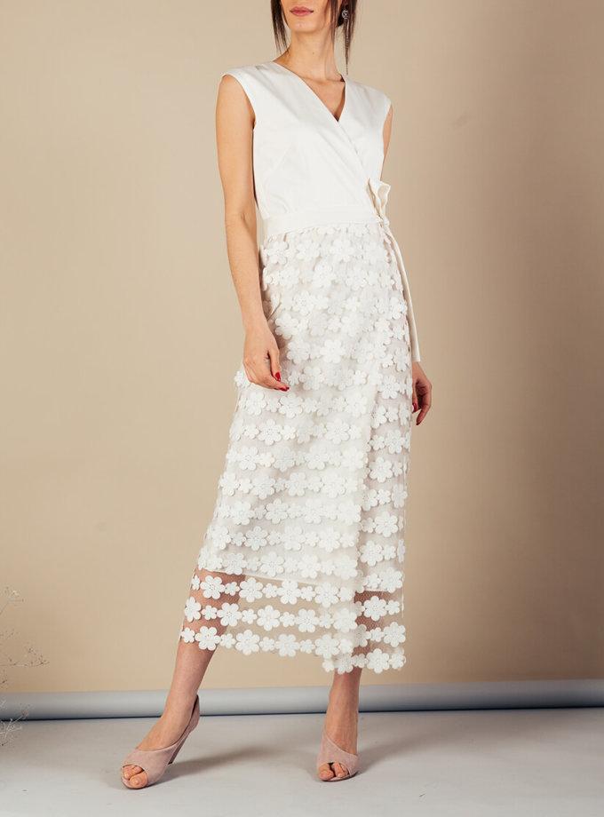 Платье на запах с кружевом MMT_060_White_dress_with_lace, фото 1 - в интеренет магазине KAPSULA