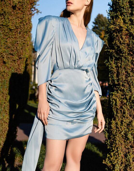 Шелковое платье с объемными рукавами SKR_10121, фото 4 - в интеренет магазине KAPSULA