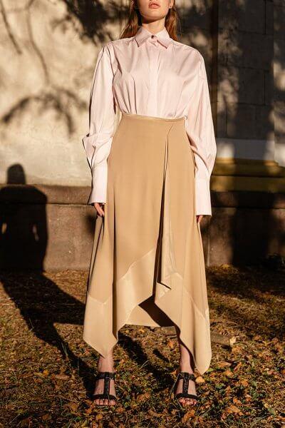 Асимметричная юбка из хлопка SKR_20044, фото 3 - в интеренет магазине KAPSULA