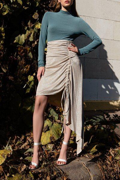 Асимметричная юбка с люрексом SKR_20046, фото 6 - в интеренет магазине KAPSULA