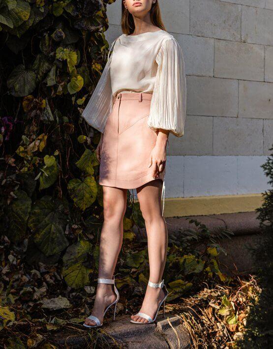 Шелковая блуза с объемными рукавами SKR_50068, фото 4 - в интеренет магазине KAPSULA