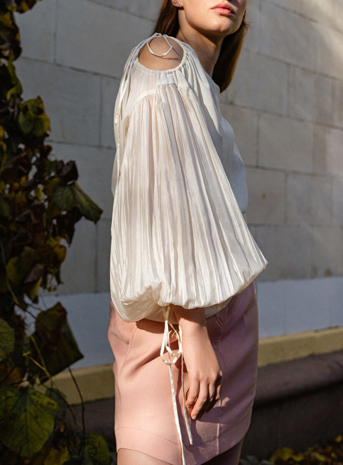 Шелковая блуза с объемными рукавами SKR_50068, фото 1 - в интеренет магазине KAPSULA