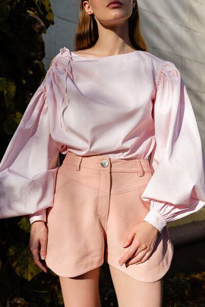 Хлопковая блуза с объемными рукавами SKR_50070, фото 1 - в интеренет магазине KAPSULA