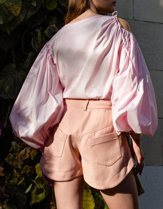 Хлопковая блуза с объемными рукавами SKR_50070, фото 3 - в интеренет магазине KAPSULA