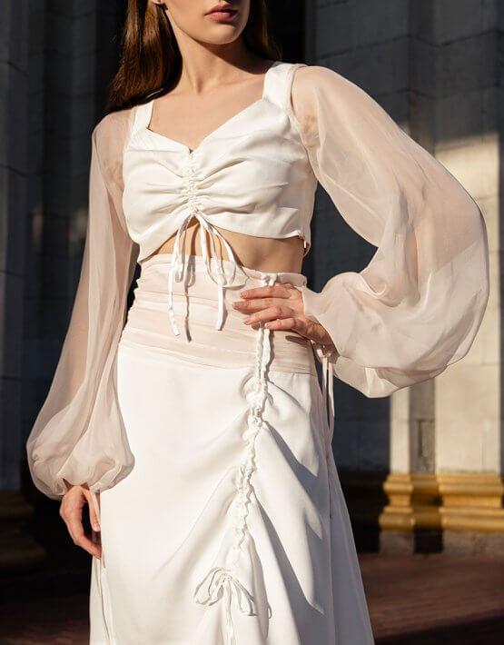 Шелковая блуза с объемными рукавами SKR_50073, фото 2 - в интеренет магазине KAPSULA