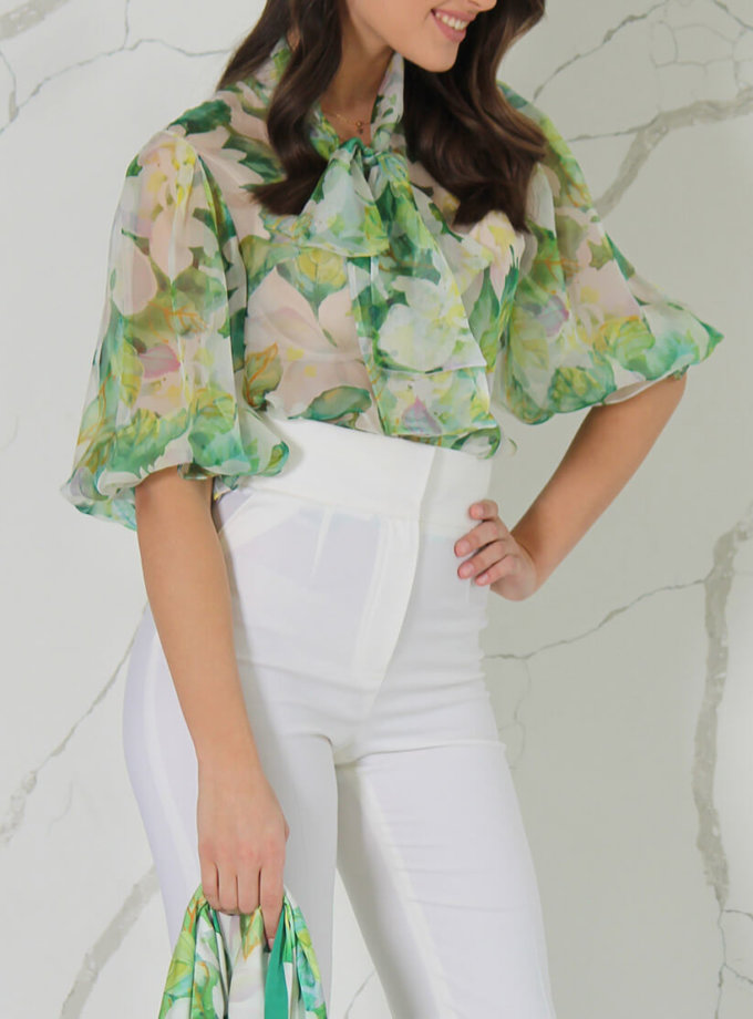 Шелковая блуза в принт SOL_SSS2020B09, фото 1 - в интернет магазине KAPSULA