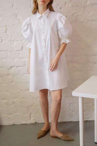 Хлопоковое платье с воротником TTWH_s-s2003, фото 1 - в интеренет магазине KAPSULA