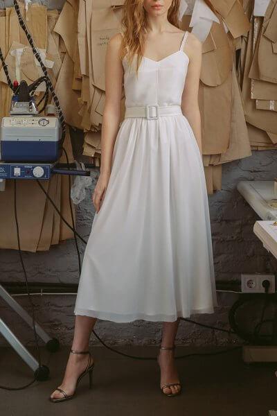Платье А-силуэта с поясом TTWH_s-s2005, фото 1 - в интеренет магазине KAPSULA