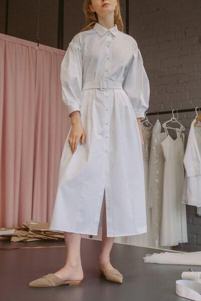 Хлопковое платье на пуговицах с поясом TTWH_s-s2007, фото 5 - в интеренет магазине KAPSULA