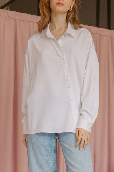 Хлопковая рубашка с косой планкой TTWH_s-s2008, фото 1 - в интеренет магазине KAPSULA