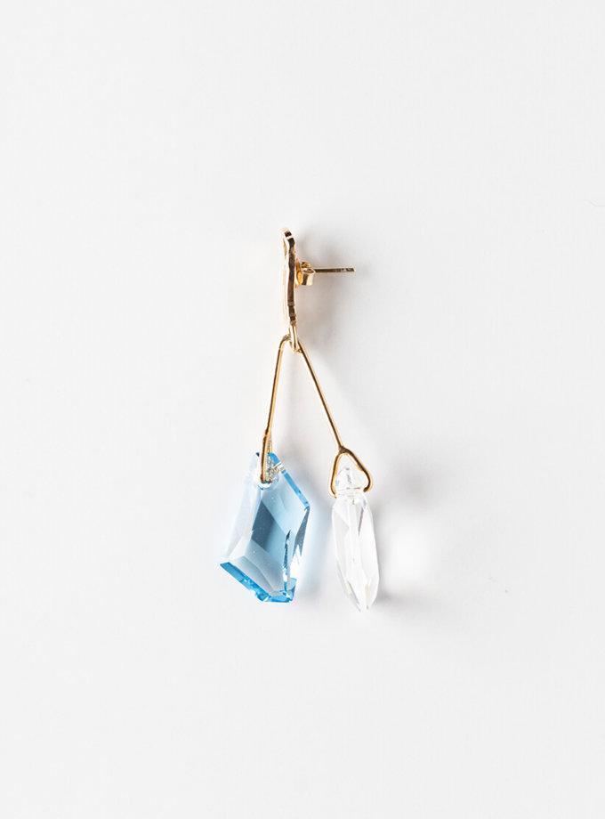 Серьга с двумя кристаллами Swarovski YSB_CH-005, фото 1 - в интеренет магазине KAPSULA