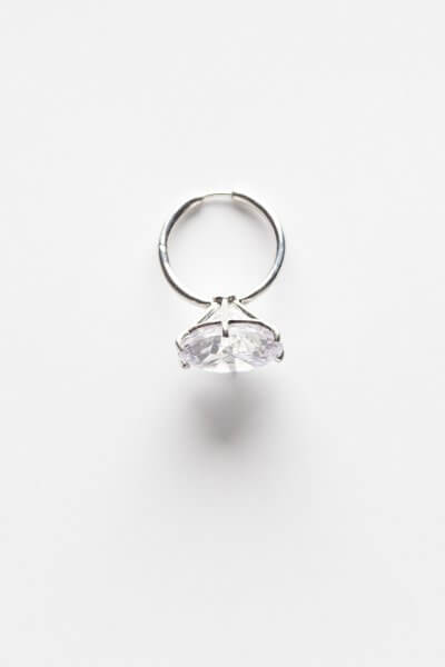 Моносерьга из серебра с каристалом Swarovski YSB_CH_015lat-silver, фото 1 - в интеренет магазине KAPSULA
