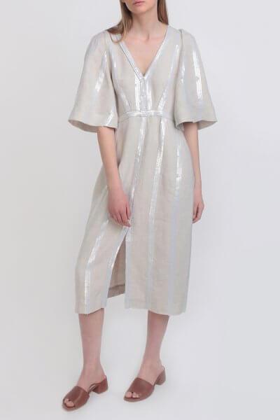 Льняное платье в пайетки Natural ZHPN_Natural_1_20_S, фото 1 - в интеренет магазине KAPSULA