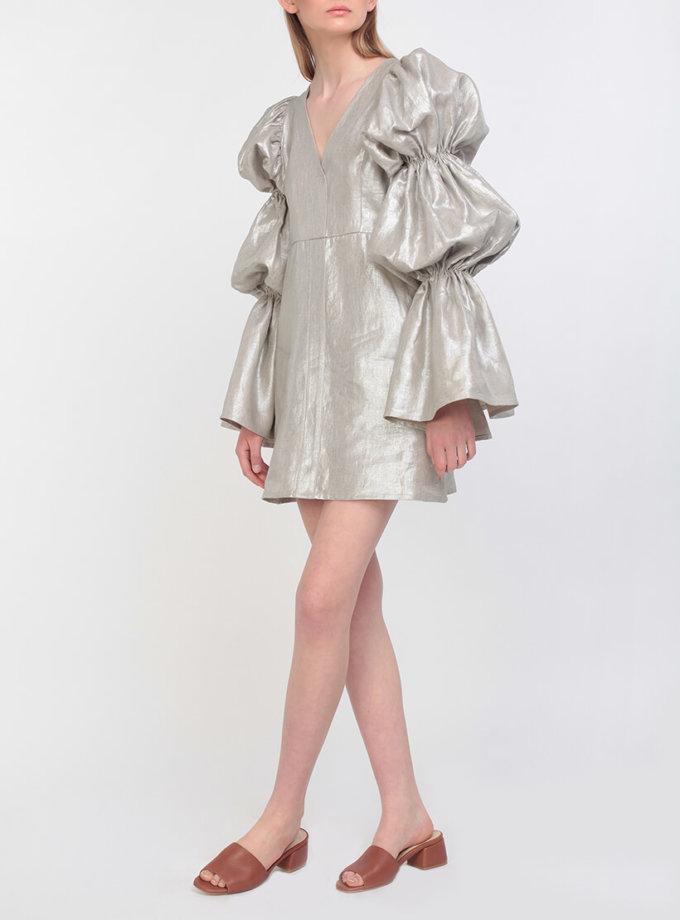 Серебристое платье из льна Gorgeous Victoria ZHPN_Victiria_1_Silver, фото 1 - в интернет магазине KAPSULA