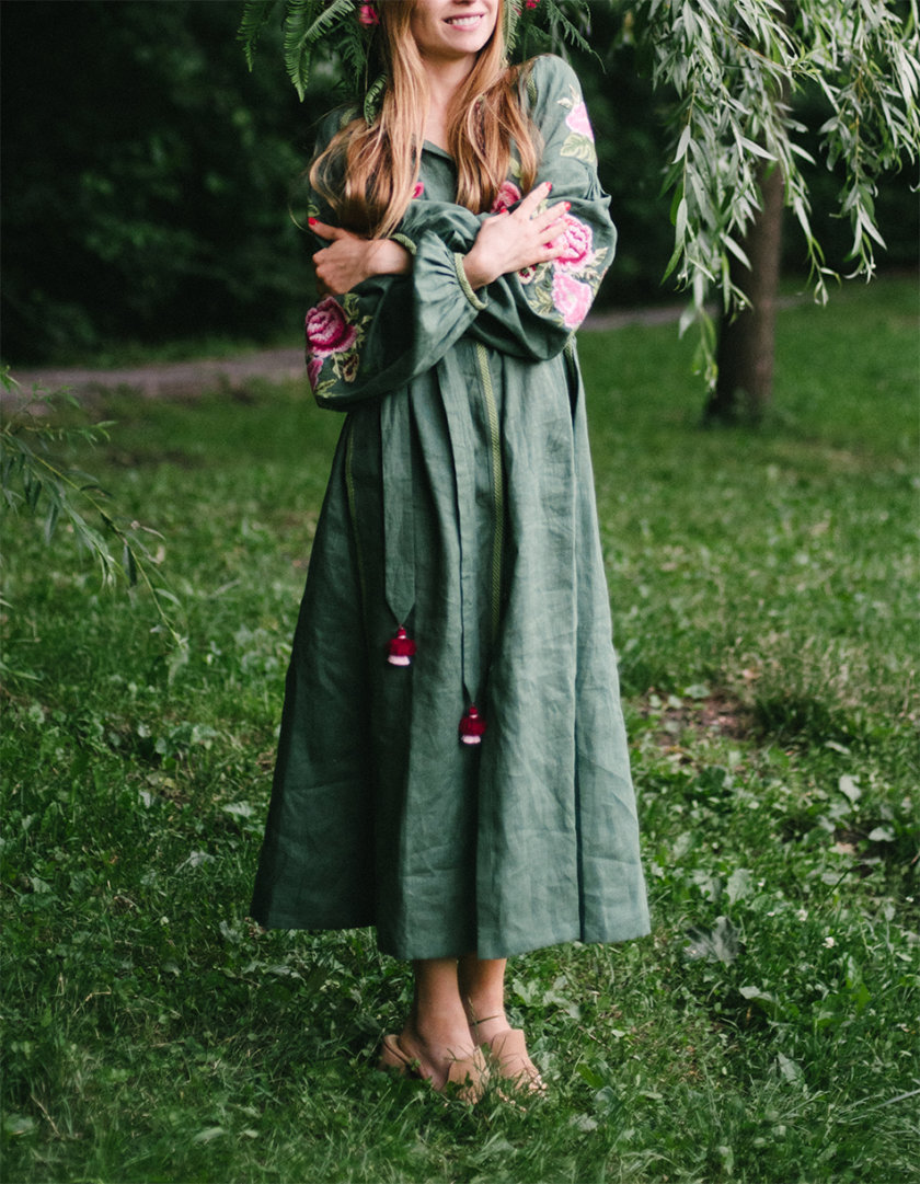 Льняное платье миди ФЛОРА FOBERI_SS20050, фото 1 - в интернет магазине KAPSULA