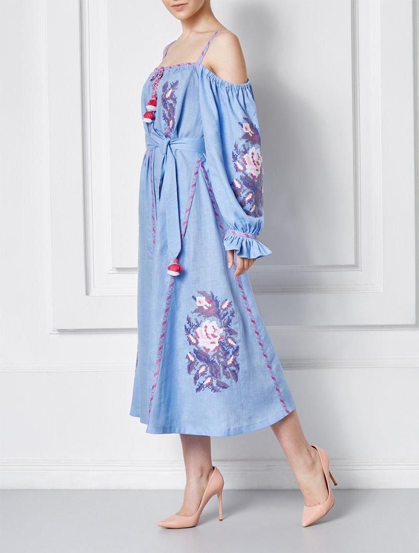 Льняное платье миди Клэр шик FOBERI_SS20109, фото 1 - в интернет магазине KAPSULA