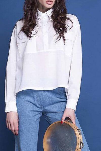 Хлопковая рубашка с накладными карманами AY_1586, фото 1 - в интеренет магазине KAPSULA