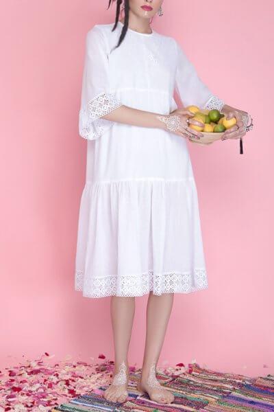Хлопковое платье с кружевом AY_1664, фото 5 - в интеренет магазине KAPSULA