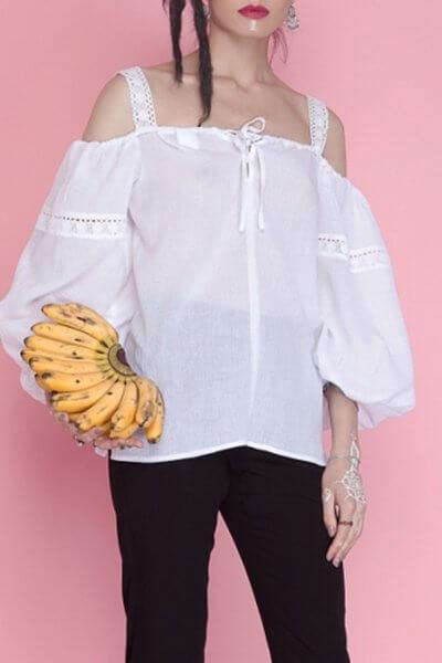 Хлопковая блуза с открытыми плечами AY_1665, фото 1 - в интеренет магазине KAPSULA