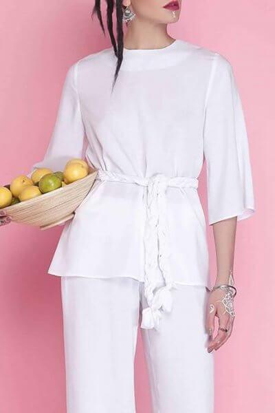 Блуза с декоративным поясом AY_1667, фото 1 - в интеренет магазине KAPSULA
