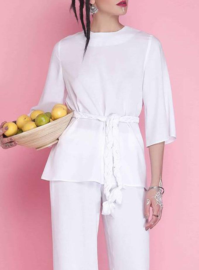 Блуза с декоративным поясом AY_1667, фото 1 - в интернет магазине KAPSULA