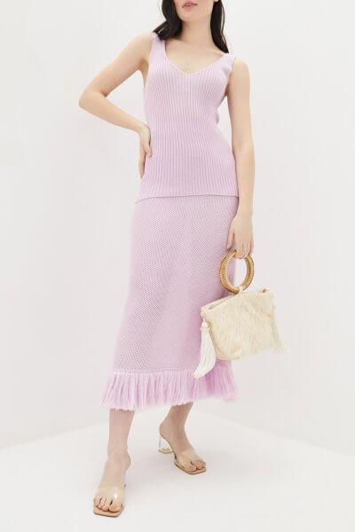 Хлопковая юбка с бахромой KNIT_MP002XW0QPY5, фото 1 - в интеренет магазине KAPSULA