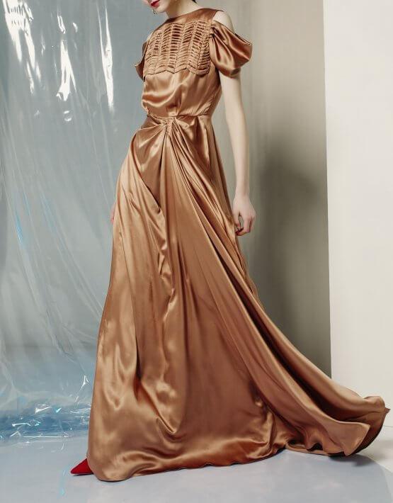 Шелковое платье макси с драпировкой MF-FW1920-17_outlet, фото 4 - в интеренет магазине KAPSULA