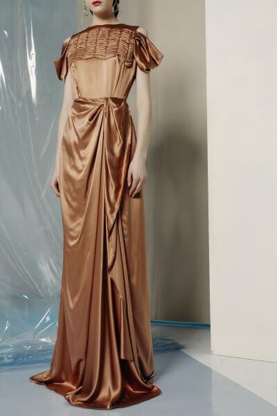 Шелковое платье макси с драпировкой MF-FW1920-17_outlet, фото 1 - в интеренет магазине KAPSULA
